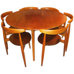 Hans Wegner for Fritz Hansen Three Legged Table and SIx Stacking Chairs