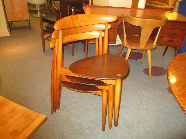 Mid Century Modern Hans Wegner For Fritz Hansen Three Legged Table And SIx  Stacking Chairs