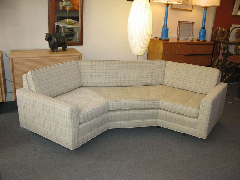 Unique 50 S Designed Probber Sofa With Angled Design Newly Upholstered In A Pale Green Fabric