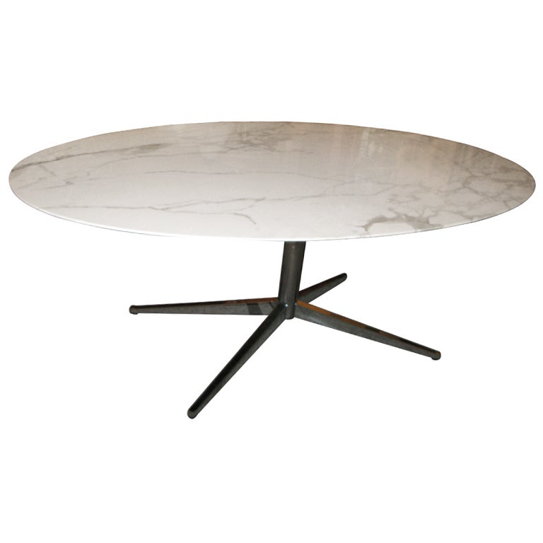 Knoll For Knoll International Marble Top Oval Table Desk At 1stdibs