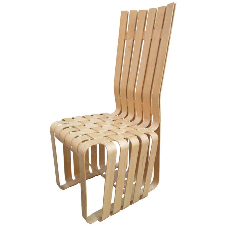 frank gehry high sticking high back chair for knoll at 1stdibs