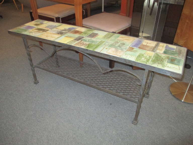 Jacobson Wrought Iron and Tile Low CoffeeConsole Table at 1stdibs