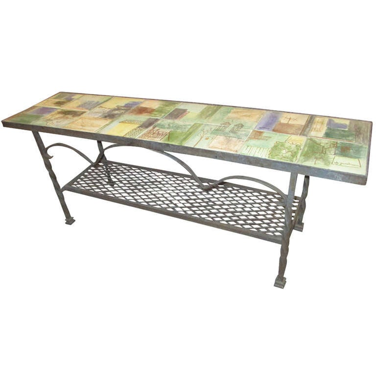 Tiled Console Table ~ Jacobson wrought iron and tile low coffee console table at