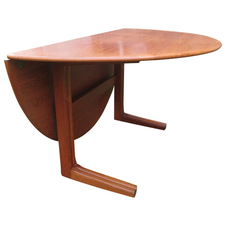 Danish Teak Round Drop Leaf Dining Table At 1stdibs