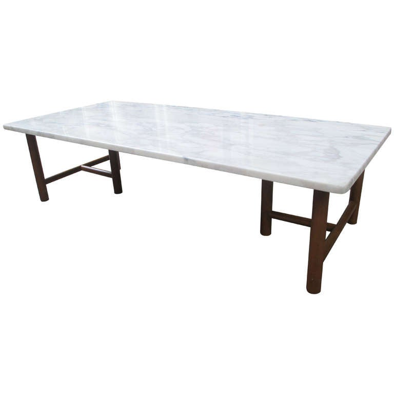 T h robsjohn gibbings for widdicomb marble and walnut for Marble and walnut coffee table