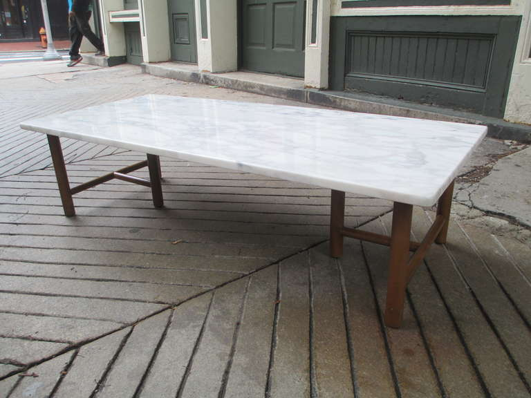 Large Rectangular Marble Topped Coffee Table Wit Six Legs Is Newly Replaced And Wood
