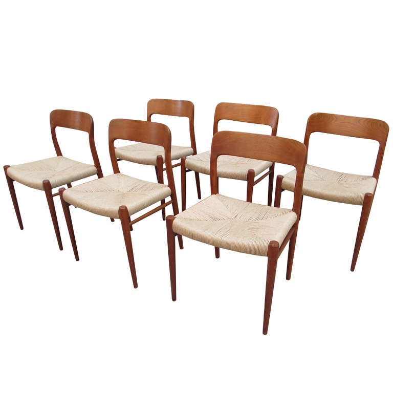 Neils Moeller Set Of Six Teak Dining Chairs With Rush