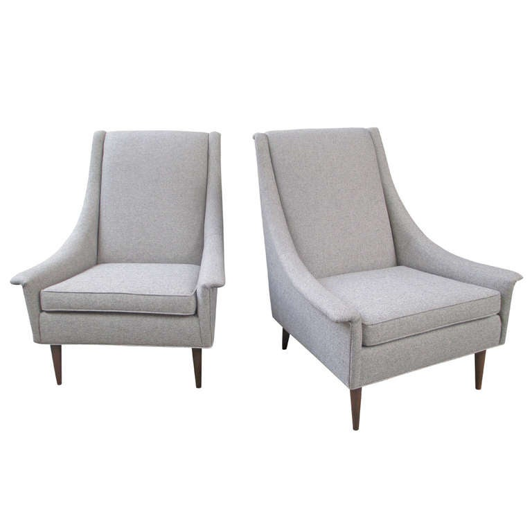 high lounge chairs. selig pair of high back upholstered lounge chairs 1