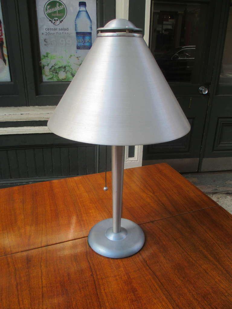 Soundrite Corporation Machine Age Spun Aluminum Lamp At