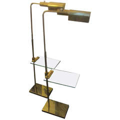 Casella Pair of Adjustable Floor Lamps with Glass Tables