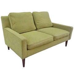 1950's Upholstered Loveseat in the style of Paul McCobb
