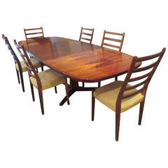 Gudme Rosewood Table with  Six Svegards Rosewood Chairs