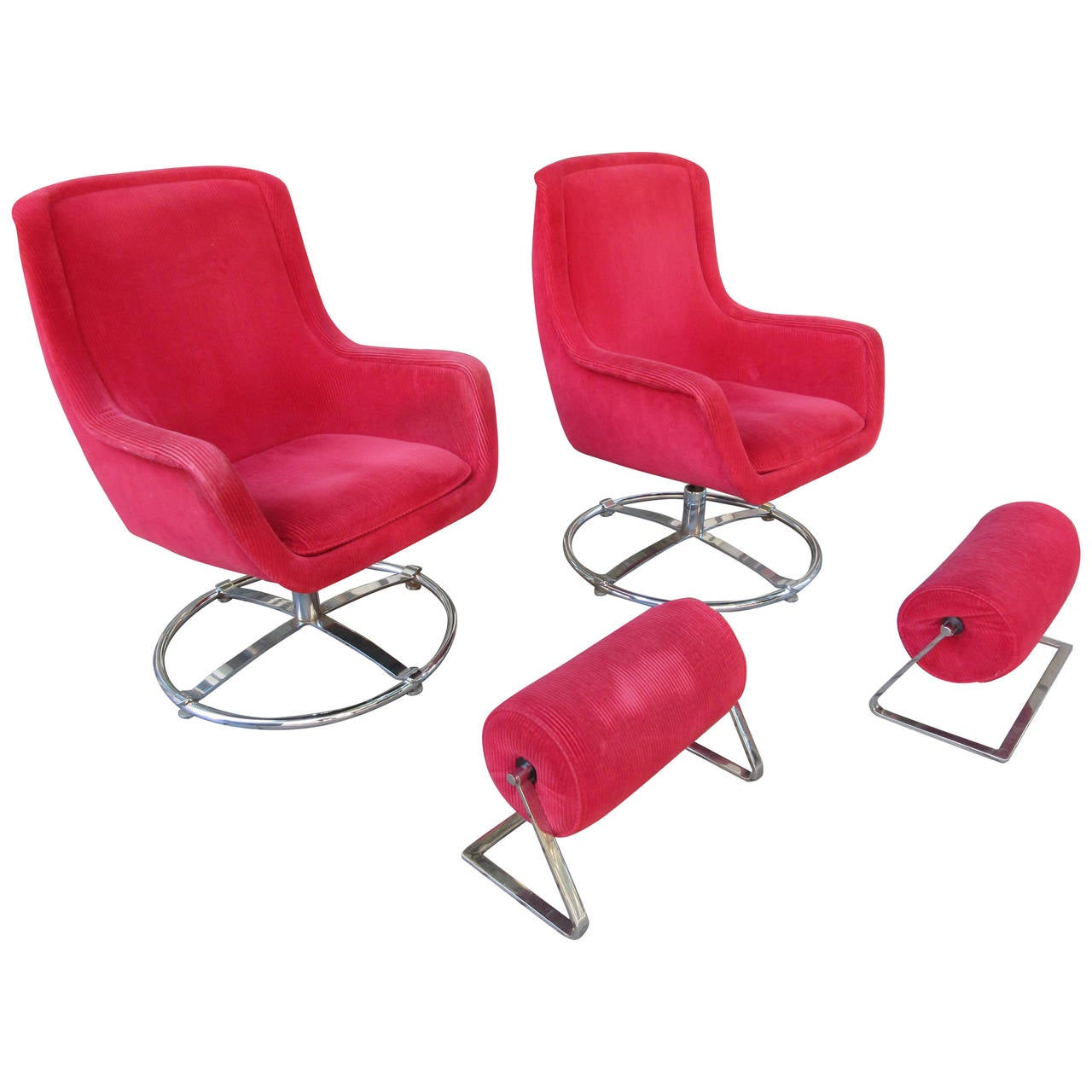 Ward Bennett Swivel Lounge Chair with Ottoman at 1stdibs