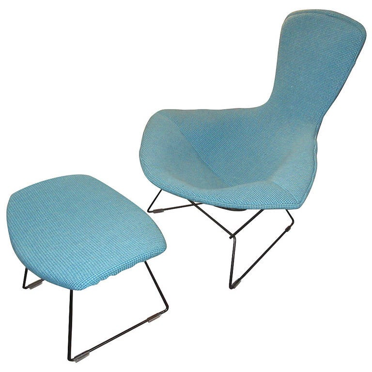Bertoia Bird Chair and Ottoman for Knoll in Cato Fabric
