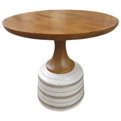 John van Koert for Drexel ceramic and wood side table