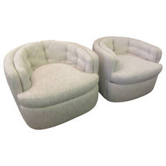 Swivel Chairs in White and Black Weave, 1960