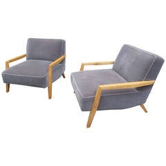 Pair of Open-Arm Lounge Chairs in the Style of Paul Laszlo