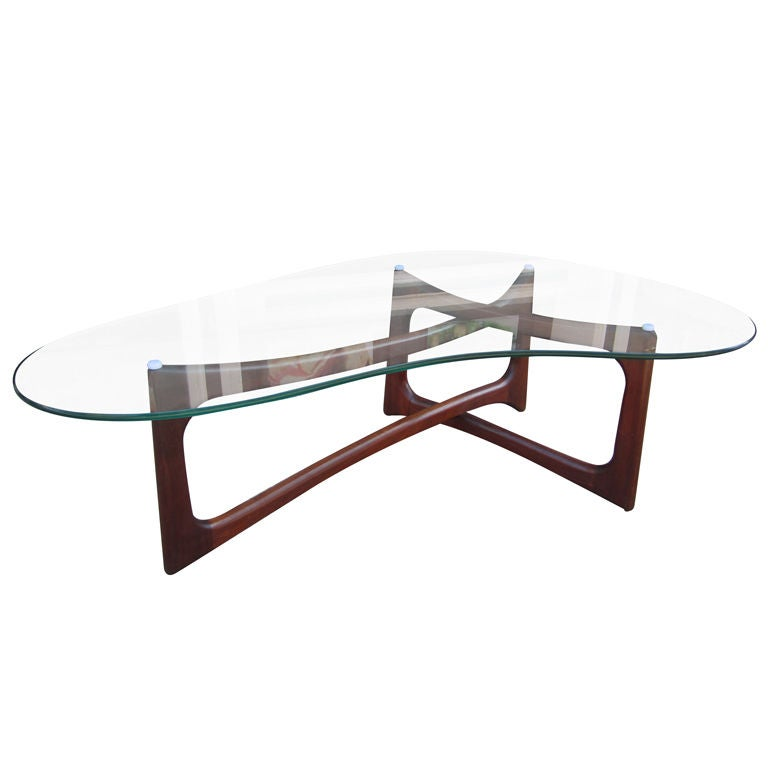 Adrian Pearsall Walnut And Glass Coffee Table At 1stdibs