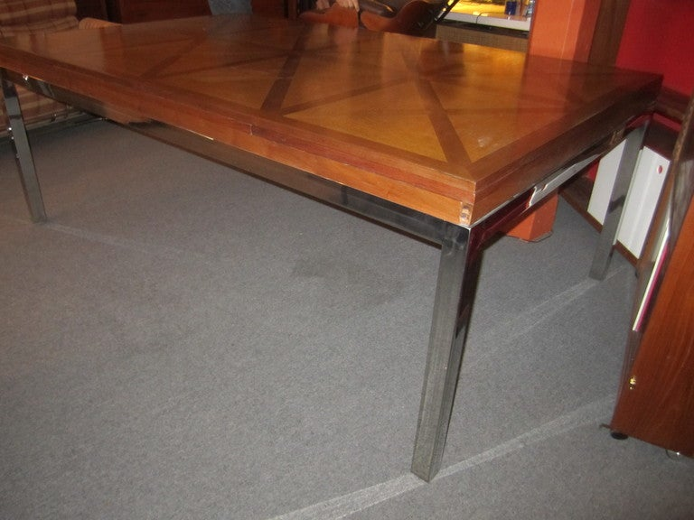 Custom oak parkay top dining table on chrome support at for Dining table support