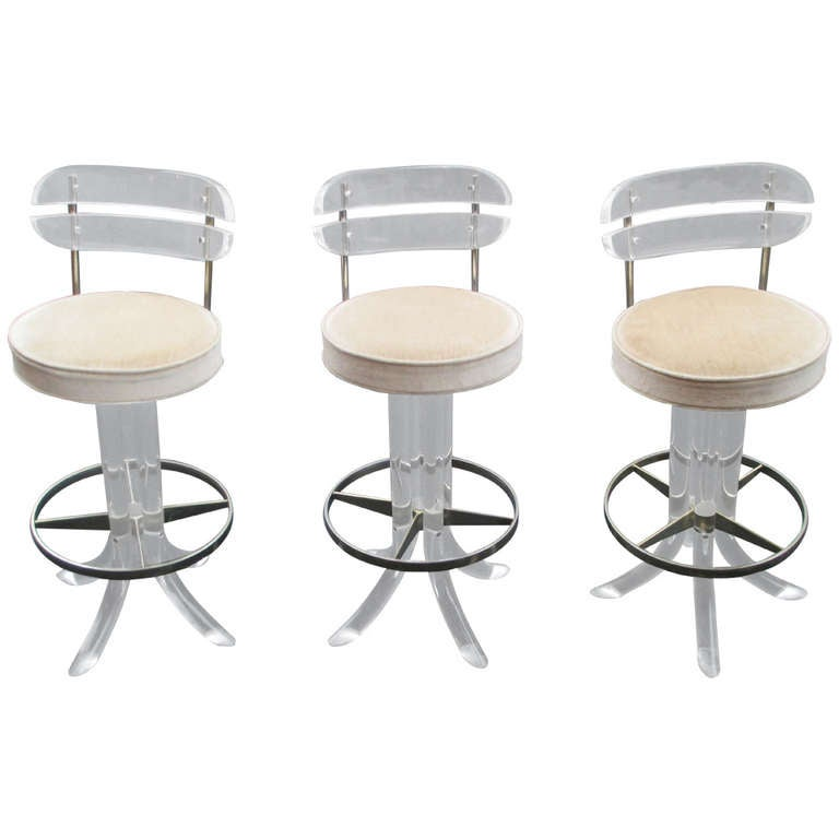 Lucite Bar Stools in the style of Karl Springer at 1stdibs
