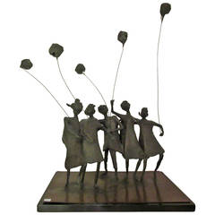 Whimsical Bronze Sculpture of Five Ladies with Balloons, Signed E Glover, 1963