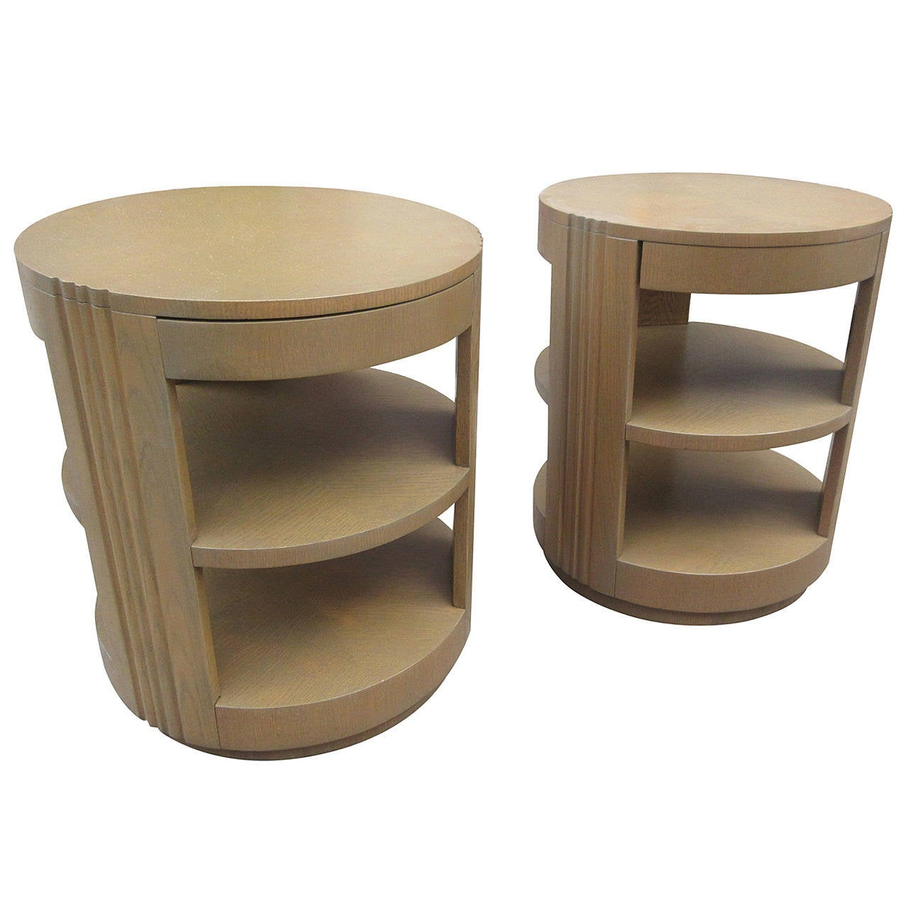 Modernage Pair Of Lazy Susan Swiveling End Tables At 1stdibs