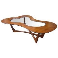 Walnut  and Glass Biomorphic Coffee Table