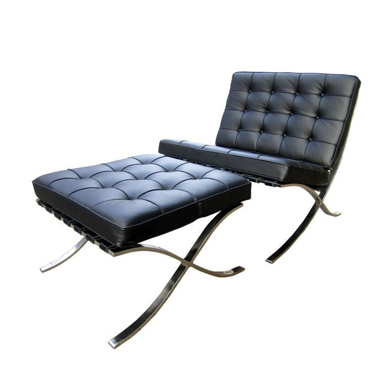 Mies van der rohe barcelona chair and ottoman for knoll at for Van der rohe furniture