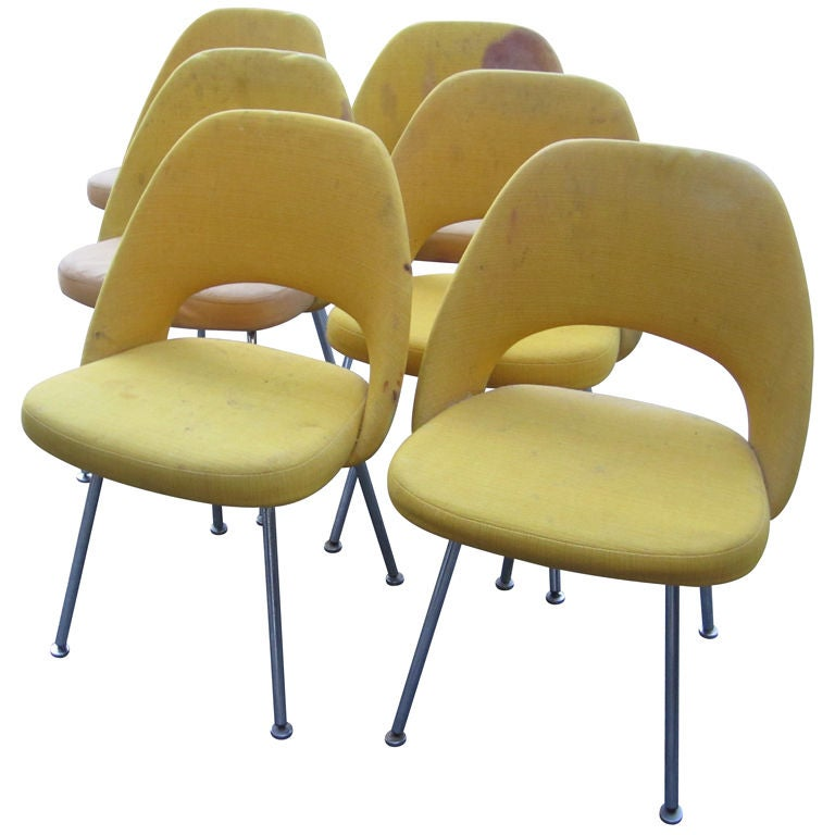 Six Eero Saarinen Side Chairs For Knoll Associates At 1stdibs