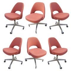 Set of Six Eero Saarinen  for Knoll Swiveling Rolling Chairs