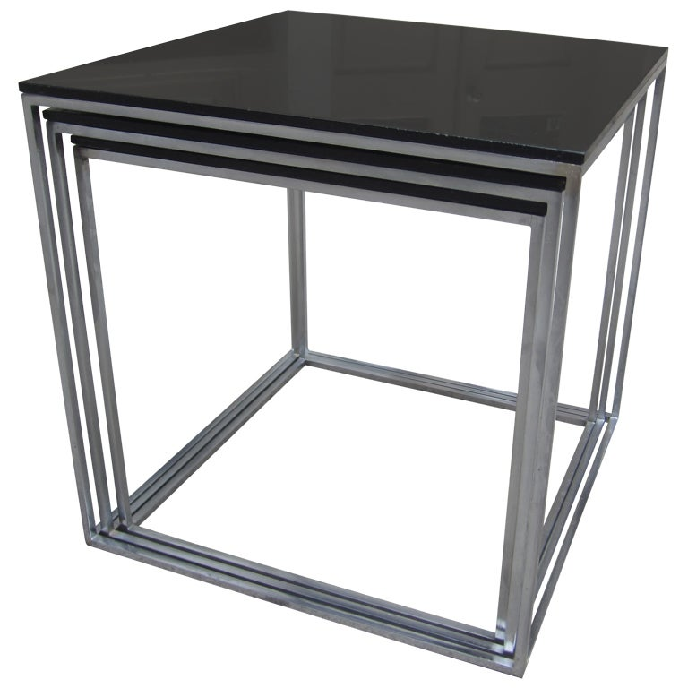 Poul kjaerholm pk set of nesting black acrylic tables at