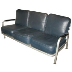 Naval  Commisioned Three Seater Aluminum Leather Sofa