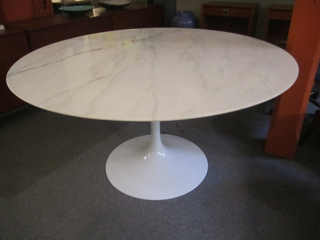 Eero saarinen for knoll 54 inch dining table marble top at for Dining room tables 54 inches long