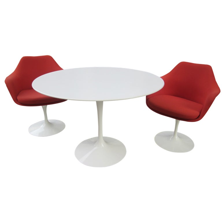 Eero Saarinen 42 inch Table and Two Arm Tulip Chairs at