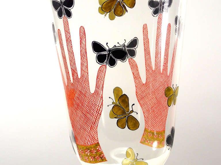 Piero Fornasetti Mani Con Farfalle Vase In Excellent Condition For Sale In West Palm Beach, FL