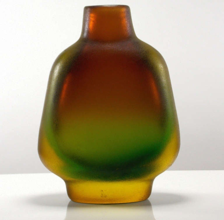 Flavio Poli created this series using both the Sommerso and Corroso techniques. A technical and artistic tour de force. Vases are sold Individually  Larger is $4,700.00 - 11 3/4
