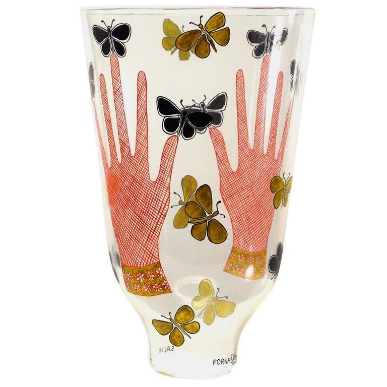 Piero Fornasetti Mani Con Farfalle Vase For Sale