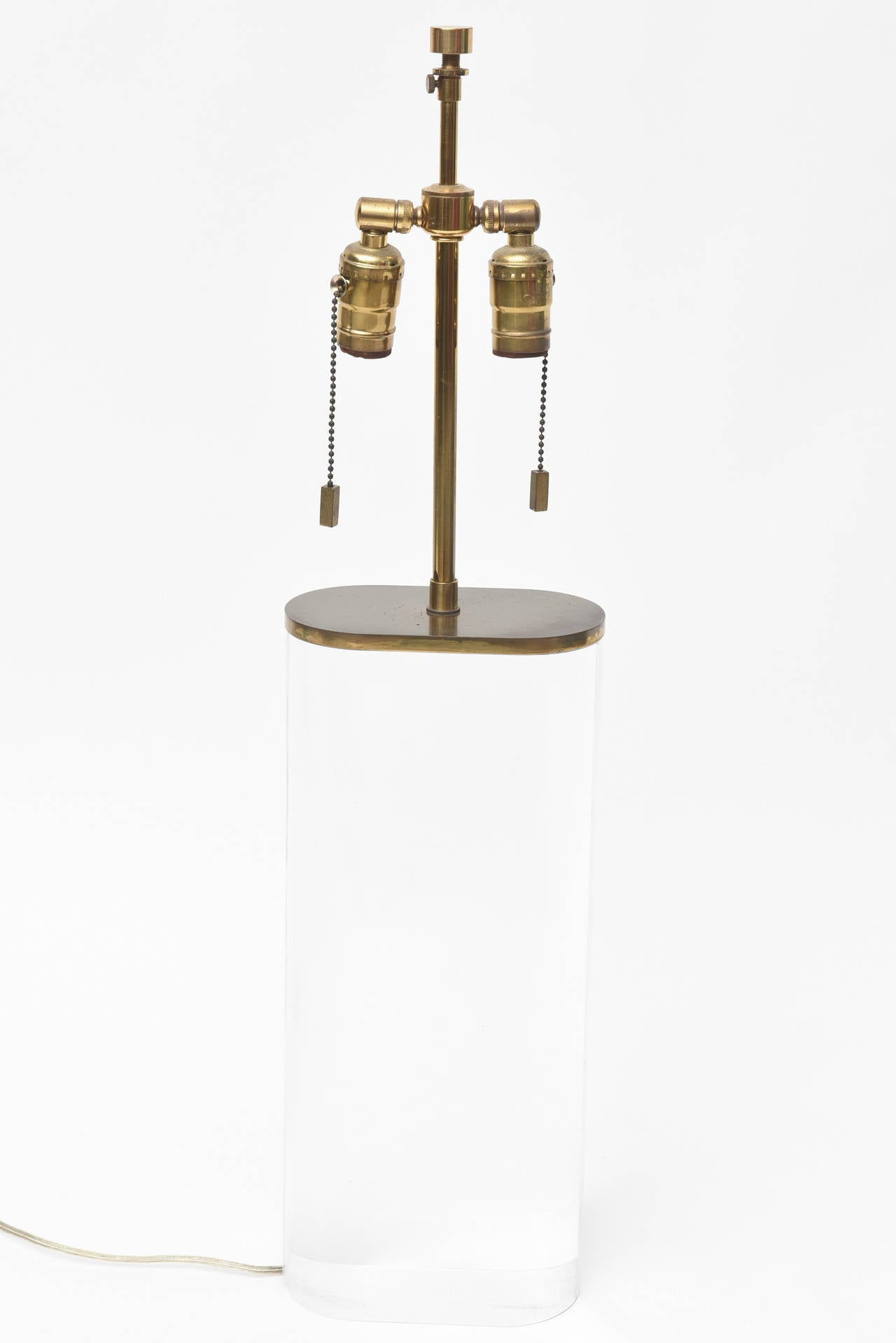 Brass Karl Springer Oval Lucite Table Lamp For Sale
