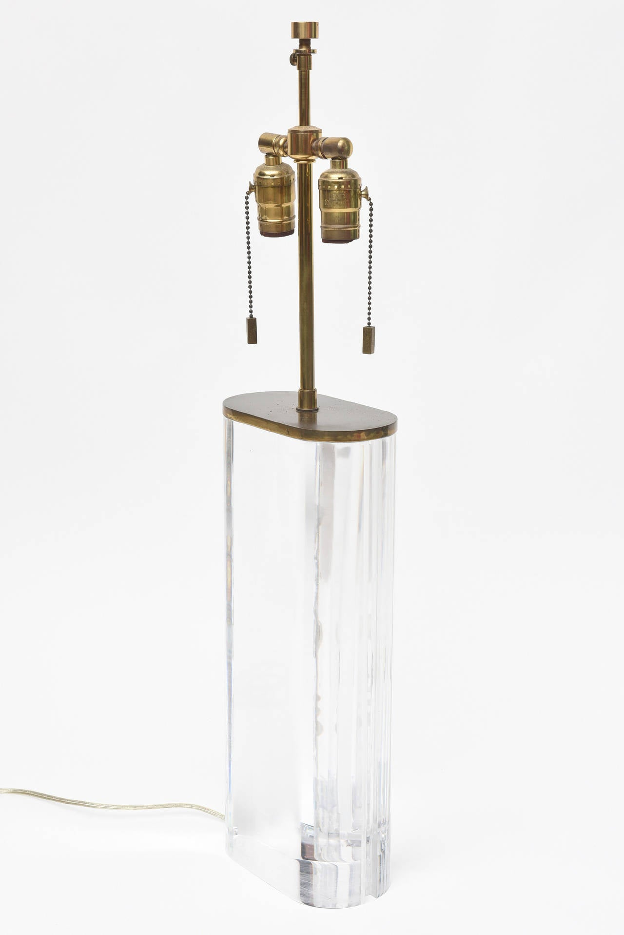 Karl Springer Oval Lucite Table Lamp For Sale 2