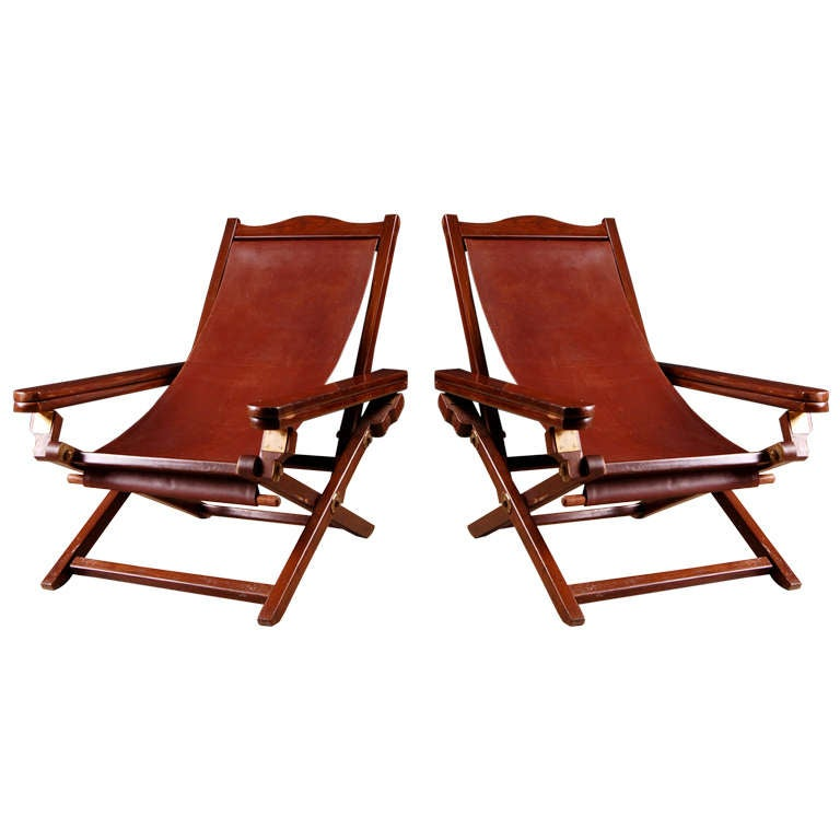 Missoni Home Outdoor Folding Chair Regista: Pair Of English Colonial Campaign Folding Lounge Chairs At