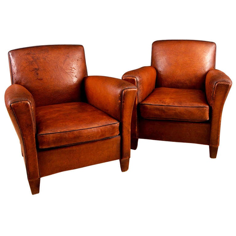 Pair Of French Vintage Square Back Leather Club Chairs At
