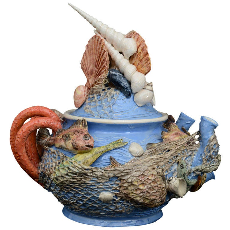 Sea Creatures Majolica Tea Pot By Christine Viennet At 1stdibs