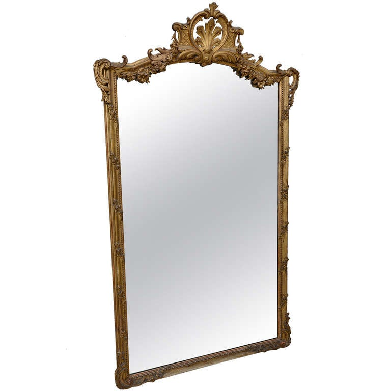 French antique louis xv style giltwood mirror with old for Vintage floor length mirror