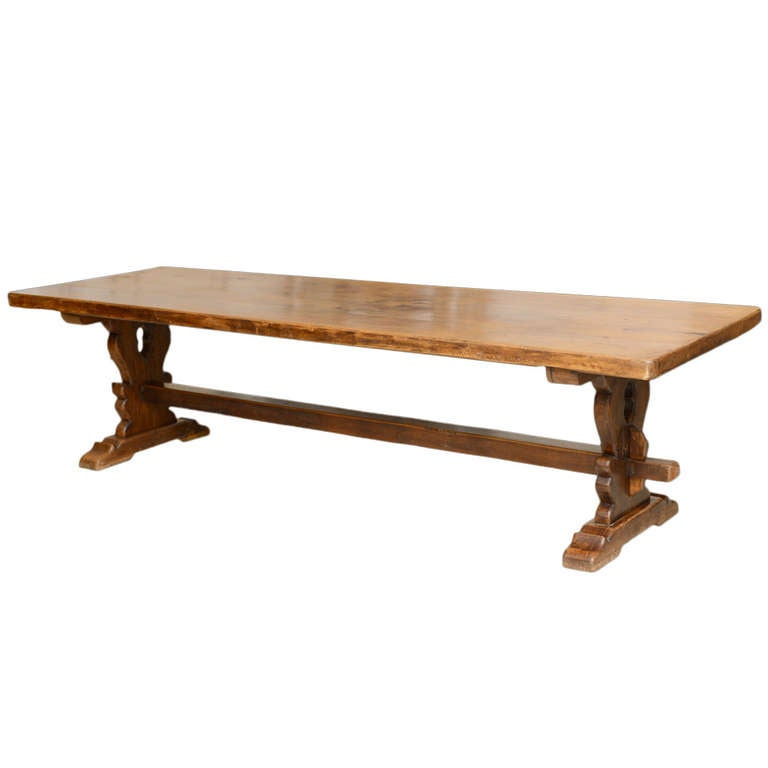 French Farm Trestle Table at 1stdibs