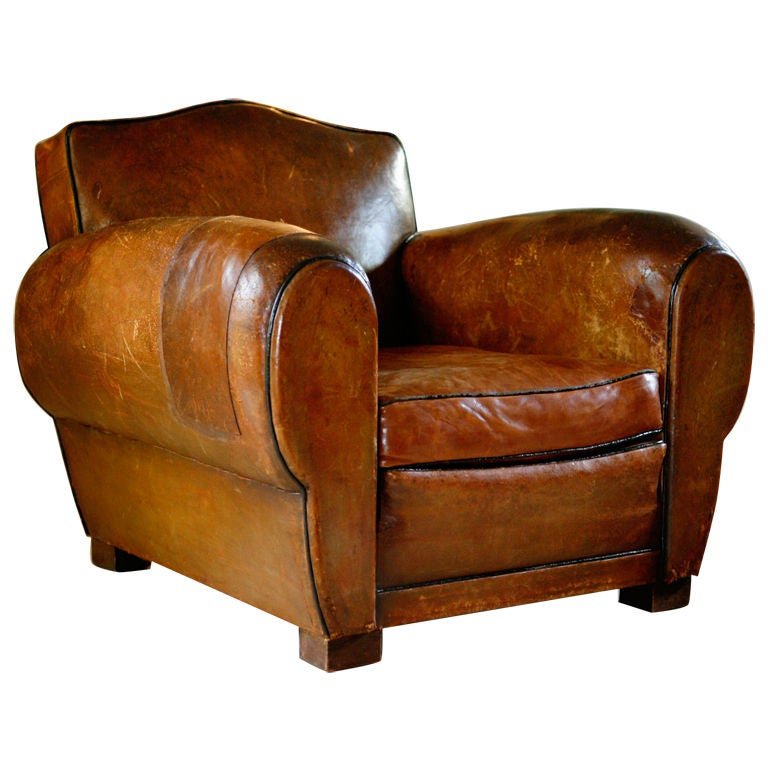 Pair Of French Art Deco Vintage Leather Club Chairs At 1stdibs