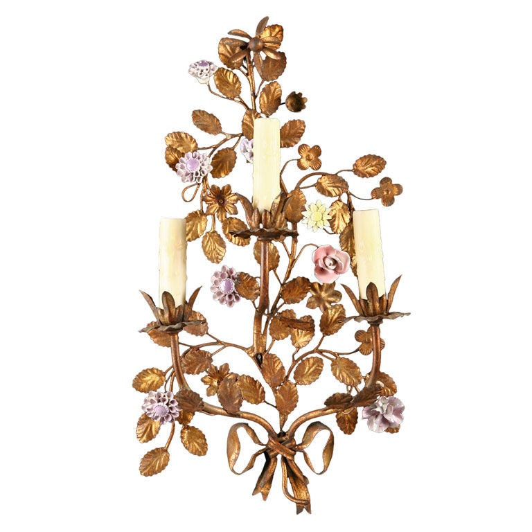 Pair of French Tole Sconces with Porcelain Flowers at 1stdibs