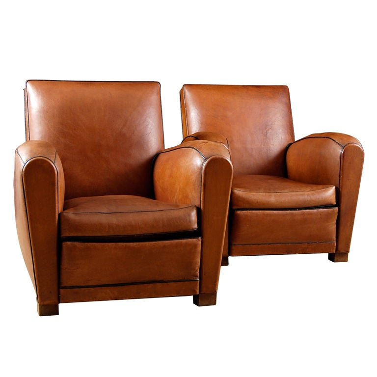 pair of french art deco style leather club chairs 1930s at 1stdibs. Black Bedroom Furniture Sets. Home Design Ideas