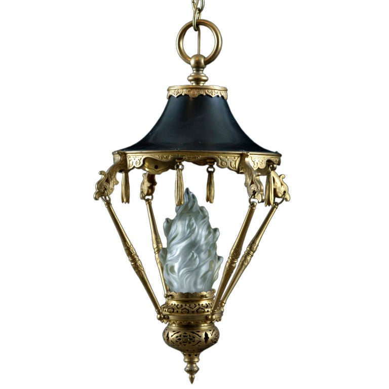 French Antique Chinoiserie Style Gilt Bronze Lantern At