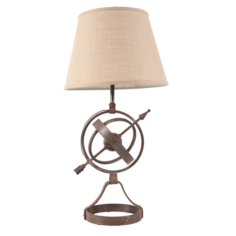French Nautical Armillary Iron Table Lamp With New Burlap