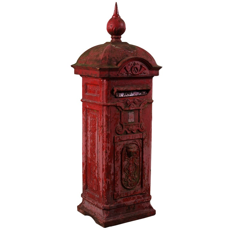 Belgian antique cast iron red mailbox at 1stdibs